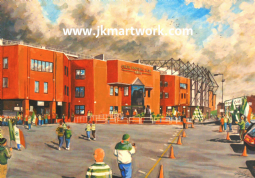 Hand Painted original of celtic park going to the match